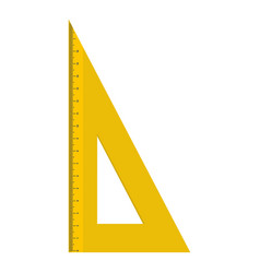 Yellow geometric ruler icon flat style vector