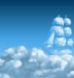 Cloudscape with ship vector image