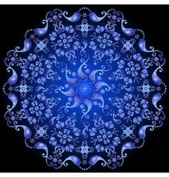 Dark blue floral circle pattern vector image