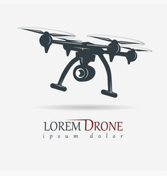 drone with action camera quadrocopter vector image vector image