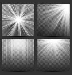 light beam rays set sun flash with rays vector image vector image