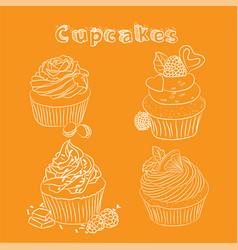 scetch cupcake orange background vector image vector image