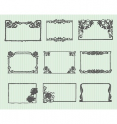 Art Nouveau horizontal frame set vector image