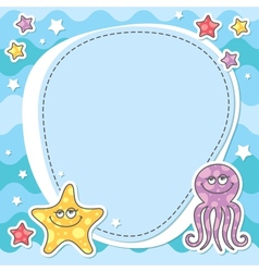 card with sea creatures vector image vector image