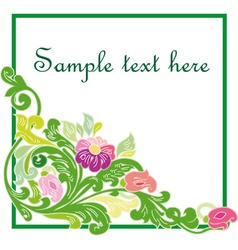 Colorful floral frame isolated on white background vector image vector image