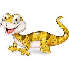 Cute lizard posing isolated on white background vector image