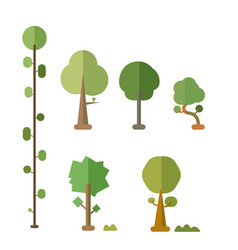 Flat trees set with bush and isolated white vector