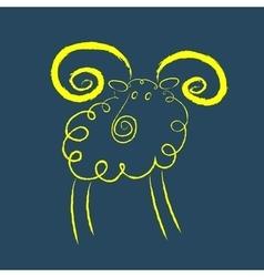 Scribble style yellow ram vector image vector image