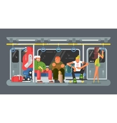 Subway with people flat design vector image vector image