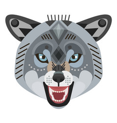 angry wolf head logo decorative emblem vector image vector image