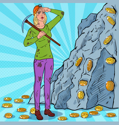 pop art woman with pickaxe mining bitcoin coins vector image