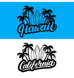 Set of Hawaii and California hand written vector image vector image