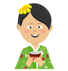 woman wearing japanese kimono holding tea cup vector image
