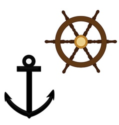 Anchor and wheel vector image vector image