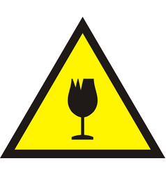 broken glass warning sign vector image vector image