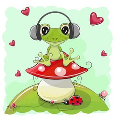 cute cartoon frog with headphones vector image vector image