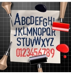 Engraving letters and numbers vector image