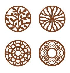 Flower Design Laser Cut Wood Coaster vector image vector image