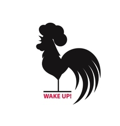 Silhouette of the cock on white background vector
