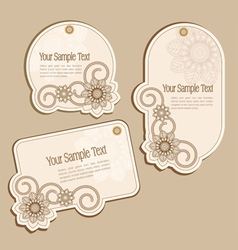 vintage floral price tags vector image vector image
