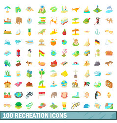 100 recreation icons set cartoon style vector