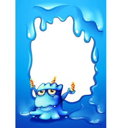A blue border design with a monster holding vector image