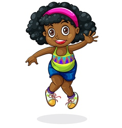 A young Black girl dancing vector