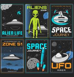 Alien zone space journey retro posters vector