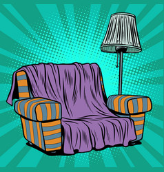 Armchair sofa with floor lamp vector