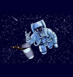 Austronaut trying to reach for cup coffee vector