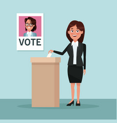 background scene woman in formal suit skirt vote vector image