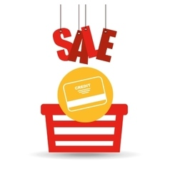 basket shopping sale credit card graphic vector image