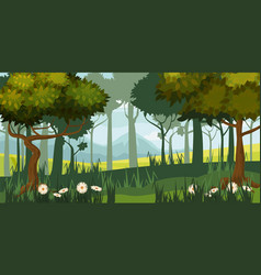 beautiful forest landscape trees silhouette vector image