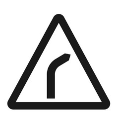 Bend to right warning sign line icon vector