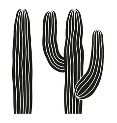 Black and white mexican cactus silhouette vector