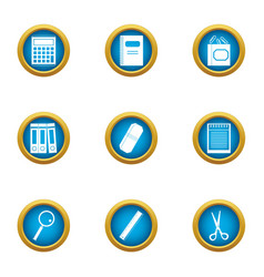 Book accounting icons set flat style vector