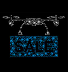 bright mesh 2d drone sale with flare spots vector image