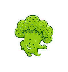 broccoli character thumbs up gesture vector image