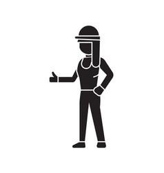 builder woman black concept icon builder vector image