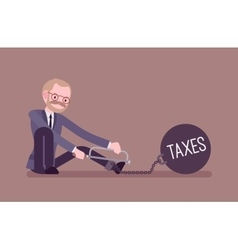 Businessman chained with a metall weight Taxes vector
