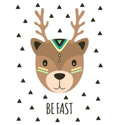 card with tribal cartoon deer vector image