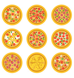 cartoon delicious pizzas with different vector image
