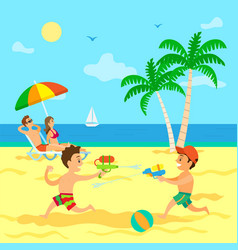 Children playing with water guns summer vacation vector