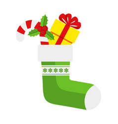 Christmas green sock with sweets and gifts vector