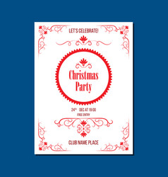 Christmas party invitation with ornaments vector