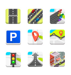 collection road icons vector image