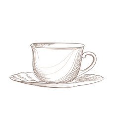 Cup of coffee engraving isolated coffee break icon vector
