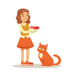 cute little girl holding a bowl with milk and red vector image