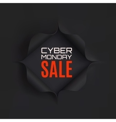 Cyber Monday sale Hole in black paper vector image