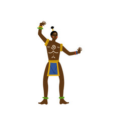 Dancing african man male aboriginal in bright vector